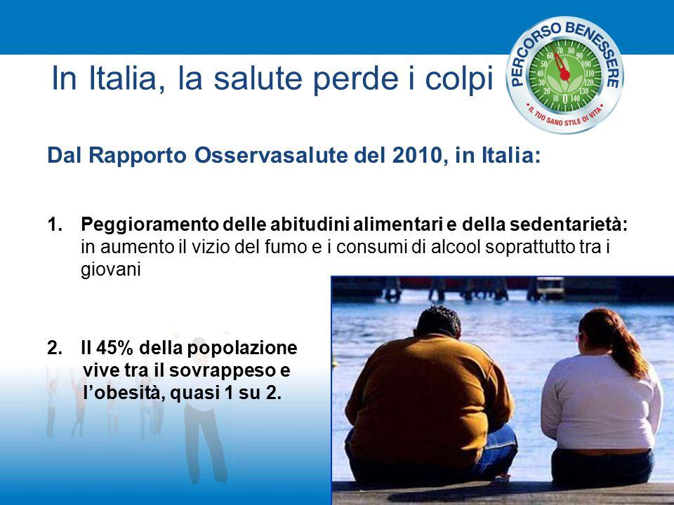 In Italia, la salute perde i colpi Dal Rapporto Osservasalute del 2010, in Italia: 1.Peggioramento delle abitudini alimentari e della sedentarietà: in