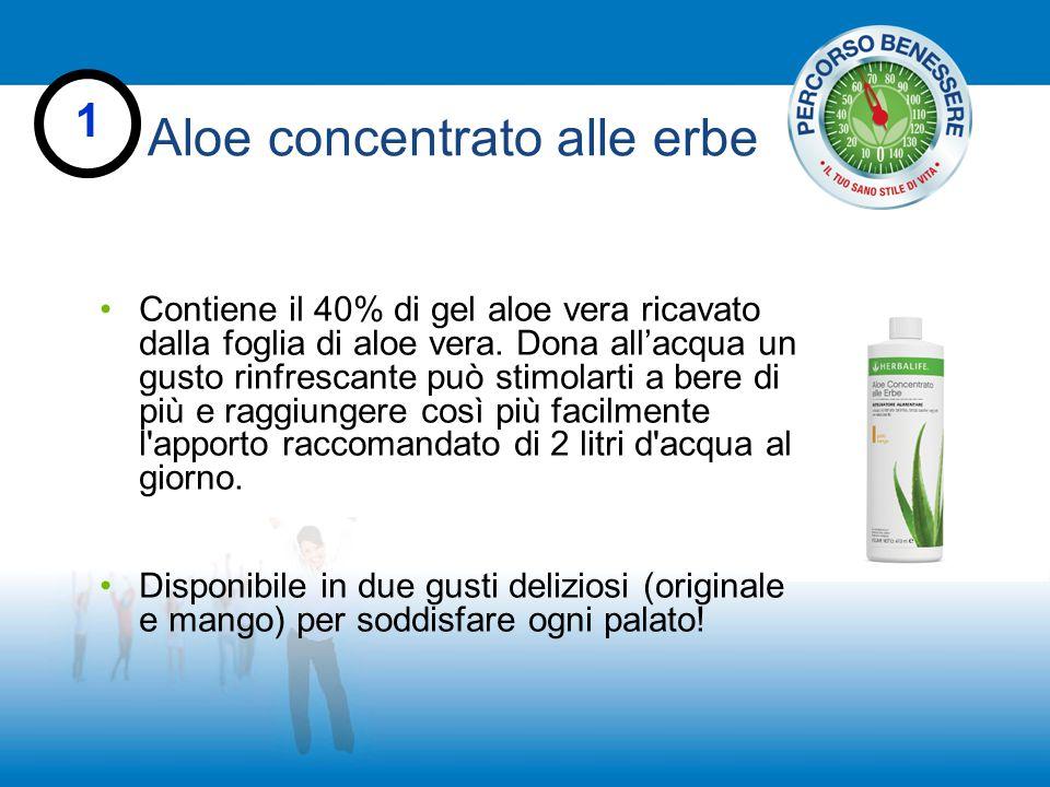 Aloe concentrato alle erbe 1 Contiene il 40% di gel aloe vera ricavato dalla foglia di aloe vera. Dona all'acqua un gusto rinfrescante può stimolarti