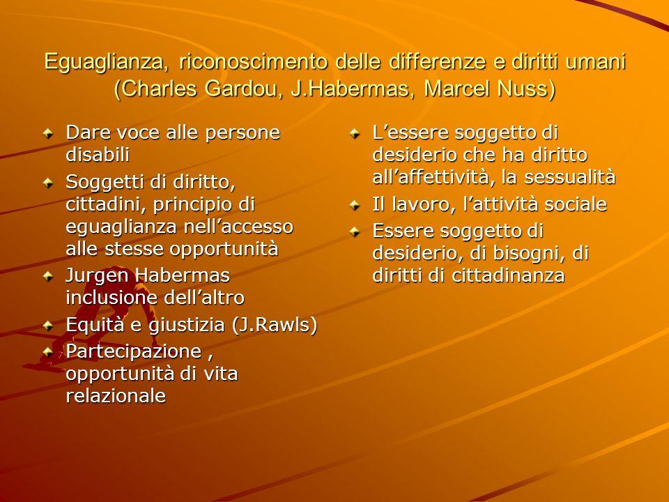 Eguaglianza, riconoscimento delle differenze e diritti umani (Charles Gardou, J.Habermas, Marcel Nuss) Dare voce alle persone disabili Soggetti di dir