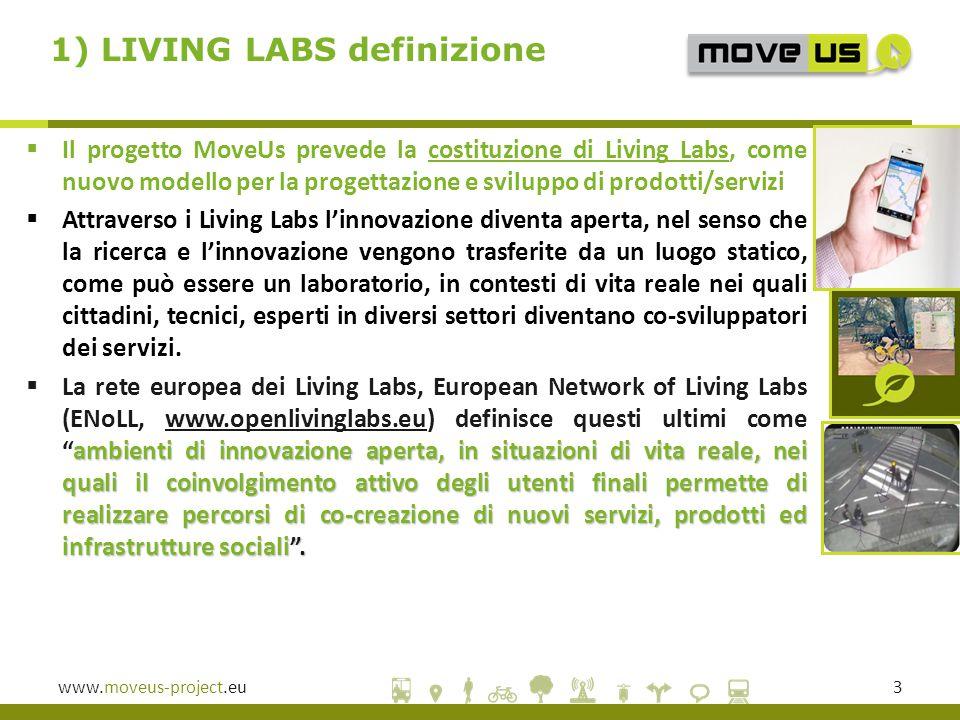 www.moveus-project.eu4 Si possono definire come MOMENTI per ideare, condividere e valutare nuove soluzioni e servizi in ambito urbano con una metodologia centrata sull utente, perché non si può prescindere dalla condivisione delle idee con tecnici ed esperti e dal coinvolgimento attivo degli utenti LIVING LABS definizione