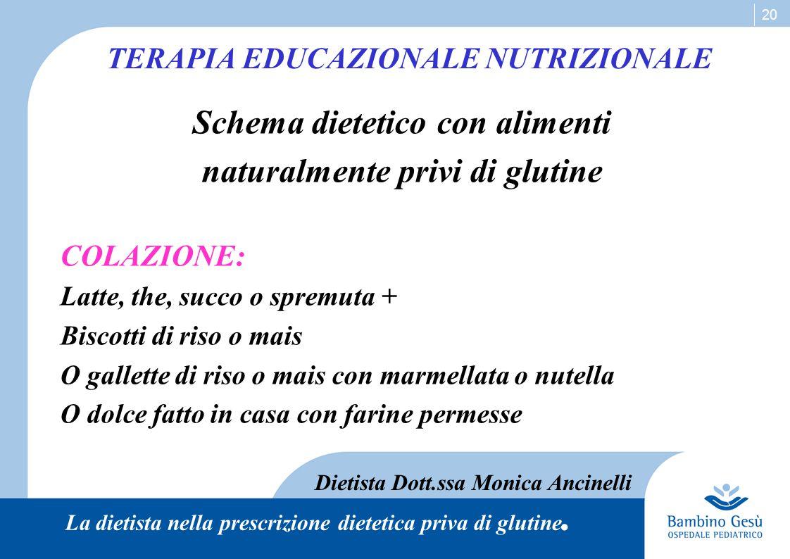 20 Schema dietetico con alimenti naturalmente privi di glutine COLAZIONE: Latte, the, succo o spremuta + Biscotti di riso o mais O gallette di riso o