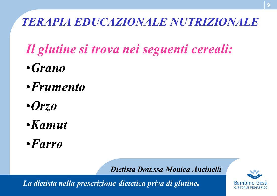 9 Il glutine si trova nei seguenti cereali: Grano Frumento Orzo Kamut Farro TERAPIA EDUCAZIONALE NUTRIZIONALE Dietista Dott.ssa Monica Ancinelli La di