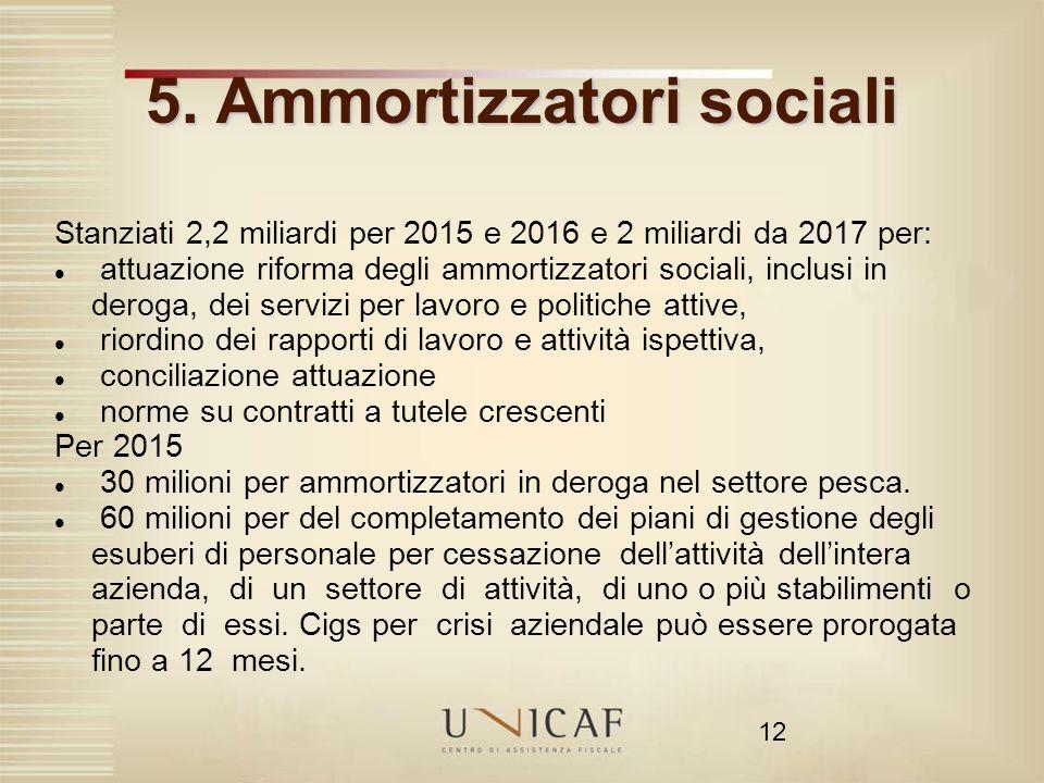 12 5. Ammortizzatori sociali Stanziati 2,2 miliardi per 2015 e 2016 e 2 miliardi da 2017 per: attuazione riforma degli ammortizzatori sociali, inclusi