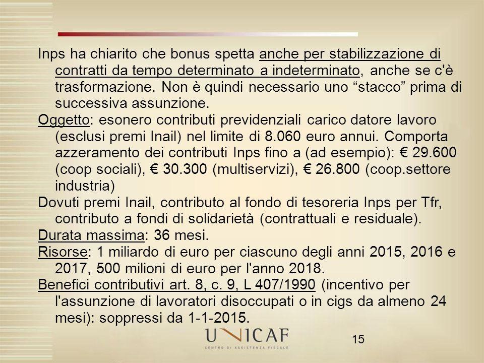 15 Inps ha chiarito che bonus spetta anche per stabilizzazione di contratti da tempo determinato a indeterminato, anche se c'è trasformazione. Non è q