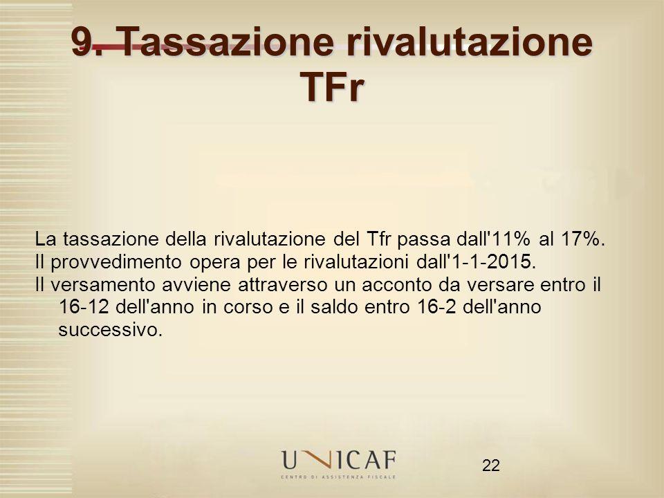 22 9. Tassazione rivalutazione TFr La tassazione della rivalutazione del Tfr passa dall'11% al 17%. Il provvedimento opera per le rivalutazioni dall'1