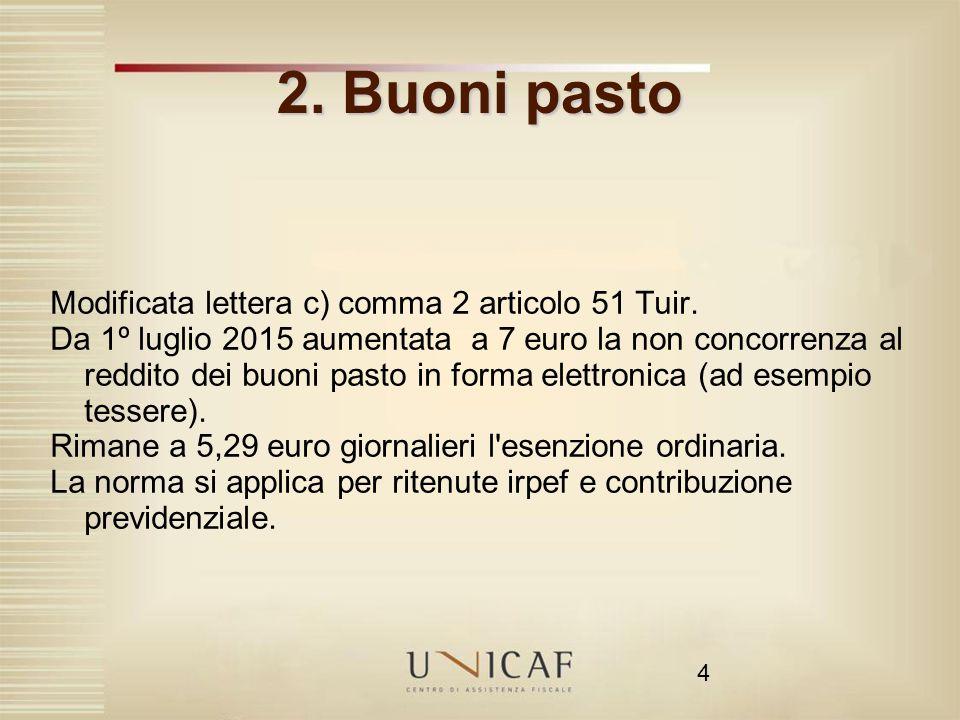 4 2. Buoni pasto Modificata lettera c) comma 2 articolo 51 Tuir. Da 1º luglio 2015 aumentata a 7 euro la non concorrenza al reddito dei buoni pasto in