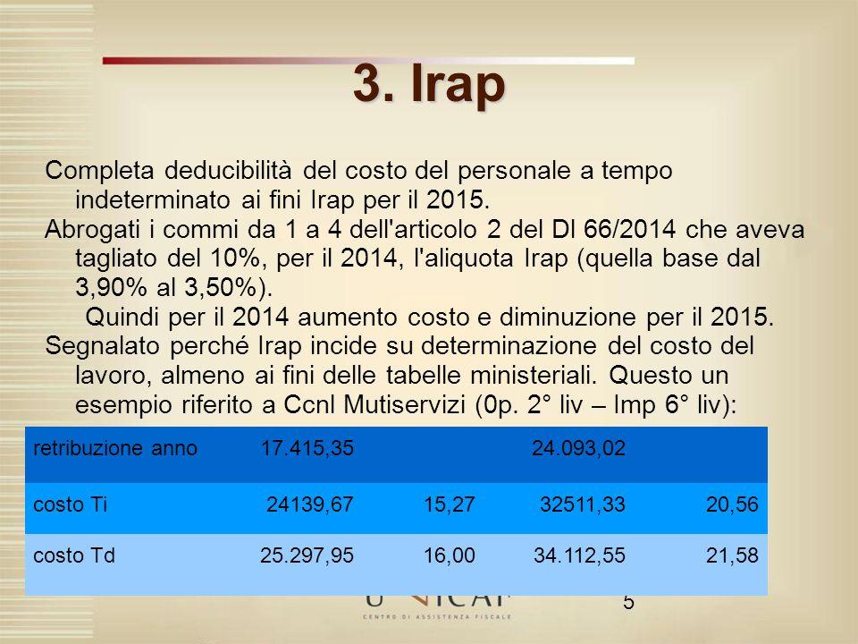 5 3. Irap Completa deducibilità del costo del personale a tempo indeterminato ai fini Irap per il 2015. Abrogati i commi da 1 a 4 dell'articolo 2 del
