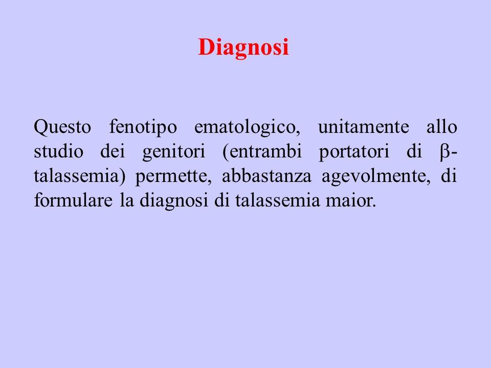 Diagnosi Questo fenotipo ematologico, unitamente allo studio dei genitori (entrambi portatori di  - talassemia) permette, abbastanza agevolmente, di