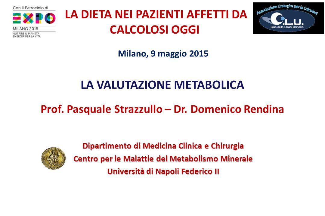 LA VALUTAZIONE METABOLICA Prof. Pasquale Strazzullo – Dr. Domenico Rendina Dipartimento di Medicina Clinica e Chirurgia Centro per le Malattie del Met