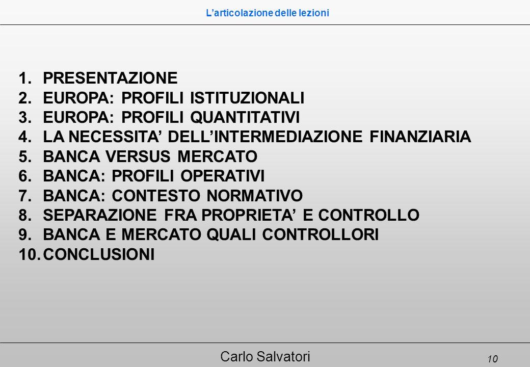 10 Carlo Salvatori 1.PRESENTAZIONE 2.EUROPA: PROFILI ISTITUZIONALI 3.EUROPA: PROFILI QUANTITATIVI 4.LA NECESSITA' DELL'INTERMEDIAZIONE FINANZIARIA 5.BANCA VERSUS MERCATO 6.BANCA: PROFILI OPERATIVI 7.BANCA: CONTESTO NORMATIVO 8.SEPARAZIONE FRA PROPRIETA' E CONTROLLO 9.BANCA E MERCATO QUALI CONTROLLORI 10.CONCLUSIONI L'articolazione delle lezioni