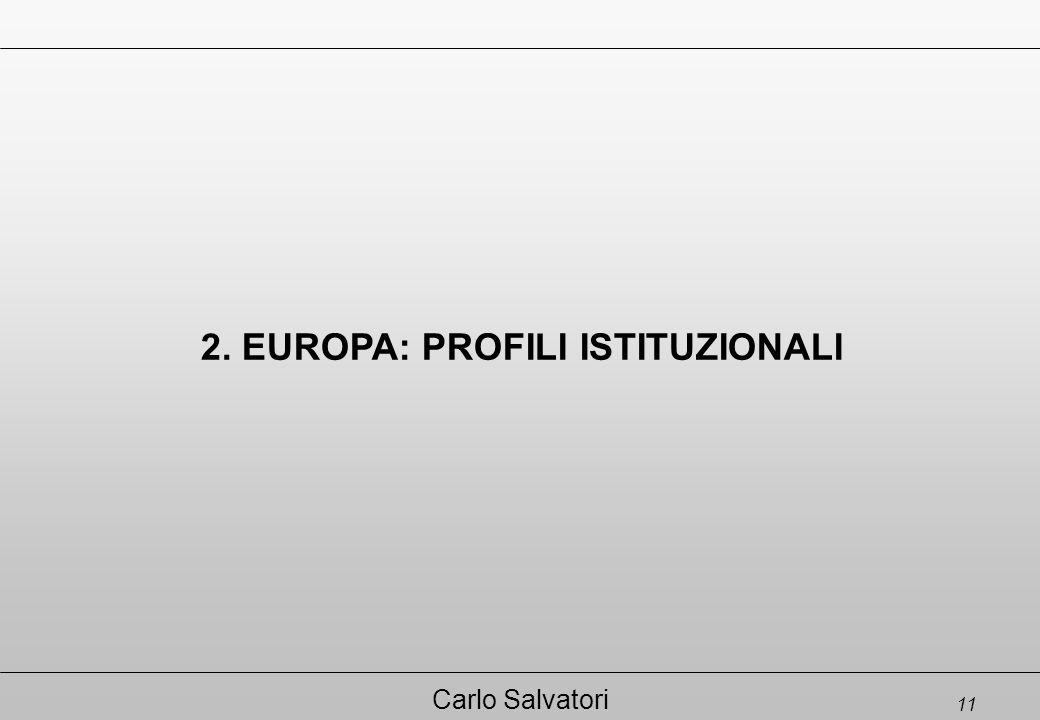 11 Carlo Salvatori 2. EUROPA: PROFILI ISTITUZIONALI