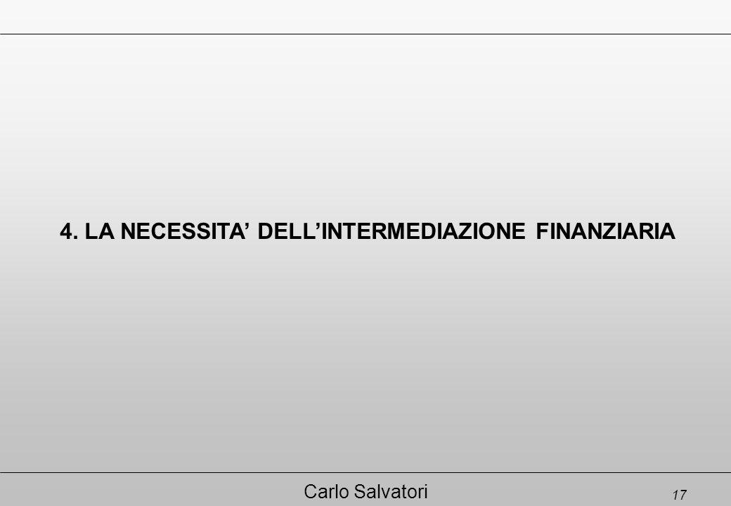 17 Carlo Salvatori 4. LA NECESSITA' DELL'INTERMEDIAZIONE FINANZIARIA