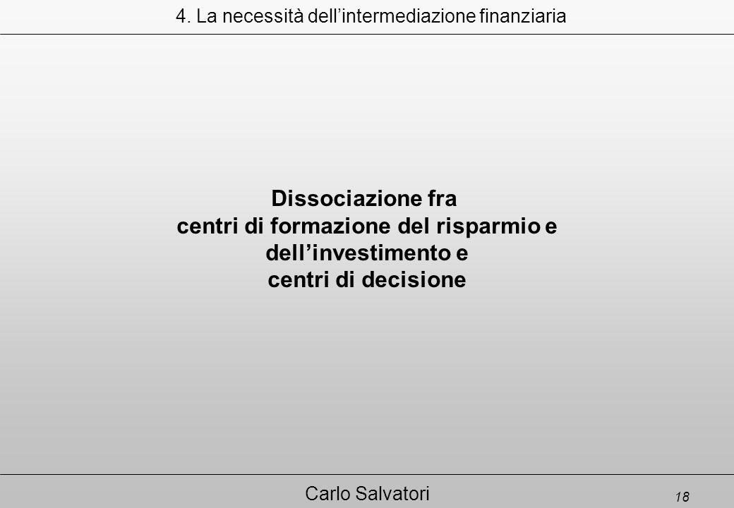 18 Carlo Salvatori Dissociazione fra centri di formazione del risparmio e dell'investimento e centri di decisione 4.