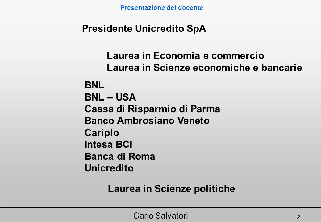 3 Carlo Salvatori Banca e Finanza in Europa Programma del corso