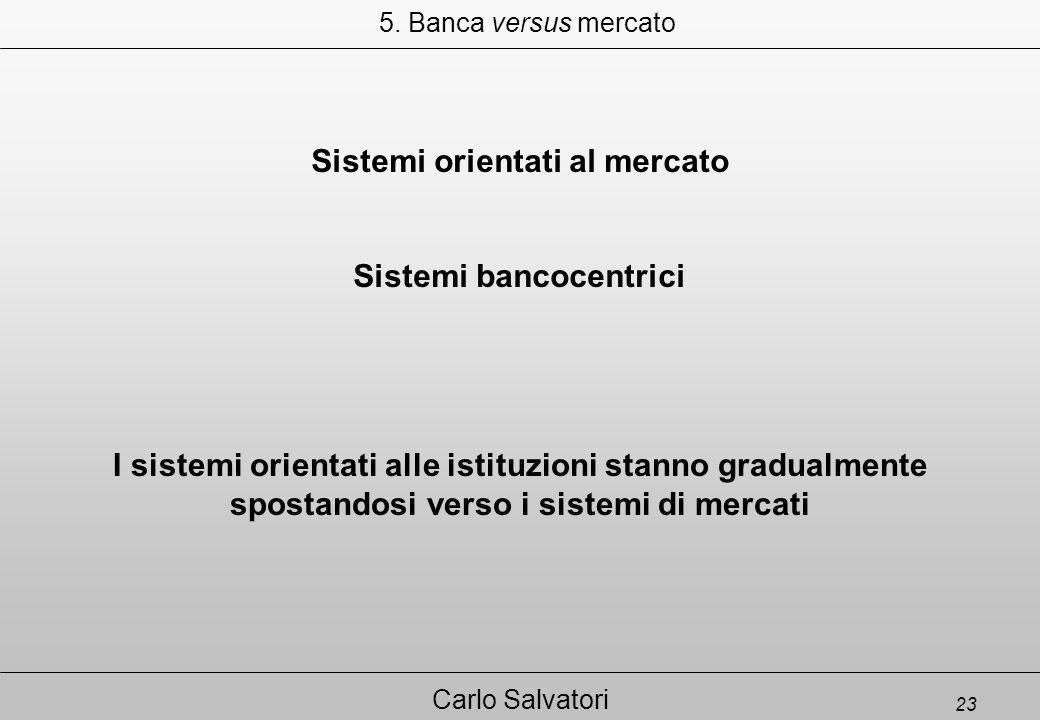 23 Carlo Salvatori Sistemi orientati al mercato Sistemi bancocentrici 5.