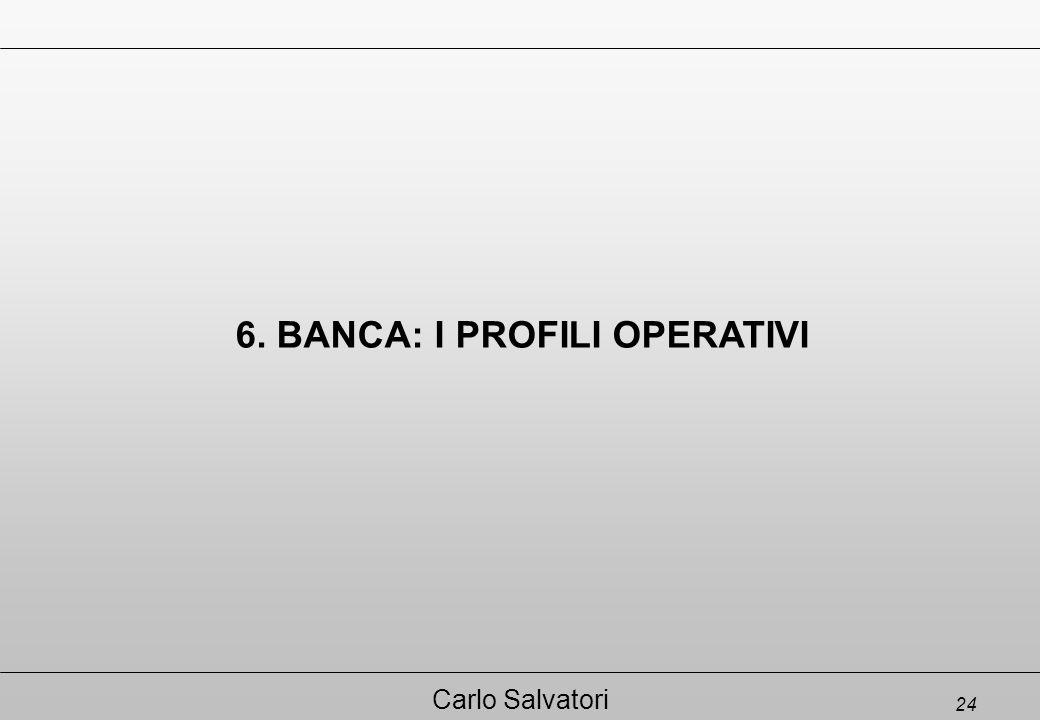 24 Carlo Salvatori 6. BANCA: I PROFILI OPERATIVI