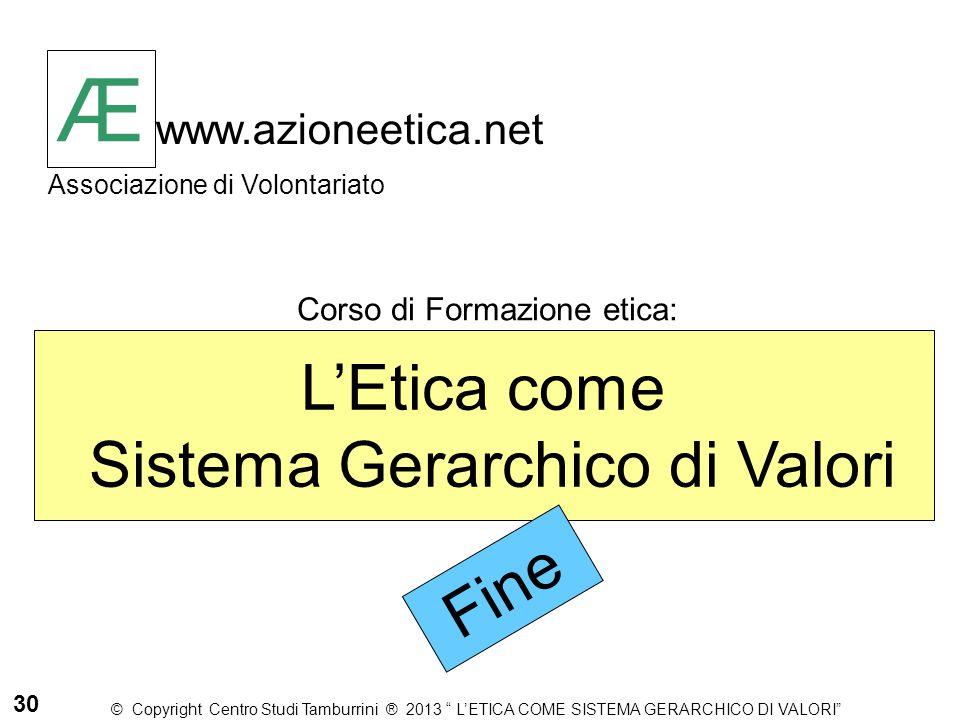 Æ www.azioneetica.net Associazione di Volontariato L'Etica come Sistema Gerarchico di Valori Corso di Formazione etica: Æ Fine © Copyright Centro Stud