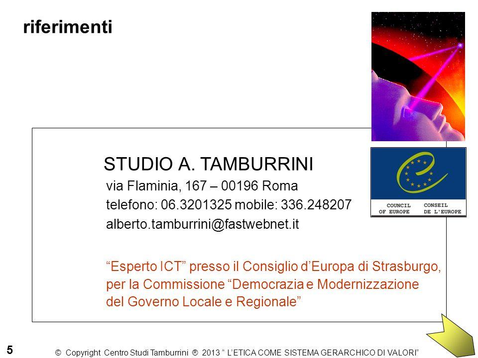 """STUDIO A. TAMBURRINI via Flaminia, 167 – 00196 Roma telefono: 06.3201325 mobile: 336.248207 alberto.tamburrini@fastwebnet.it """"Esperto ICT"""" presso il C"""