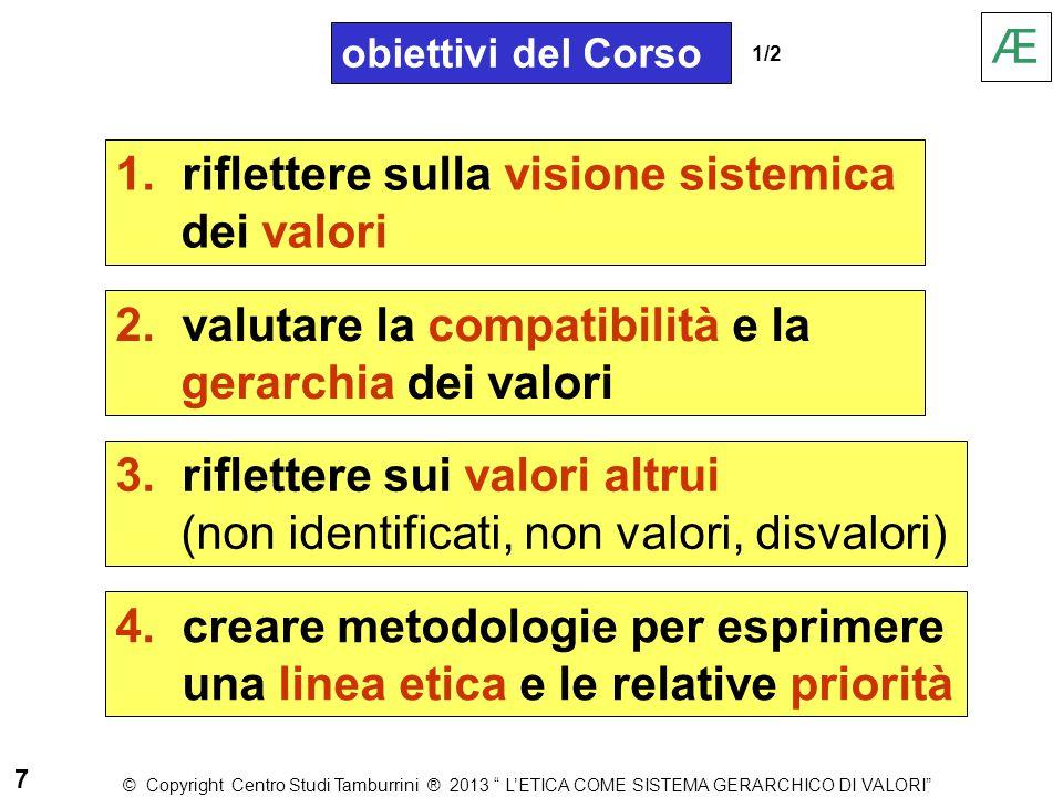 obiettivi del Corso 1. riflettere sulla visione sistemica dei valori 3. riflettere sui valori altrui (non identificati, non valori, disvalori) 2. valu