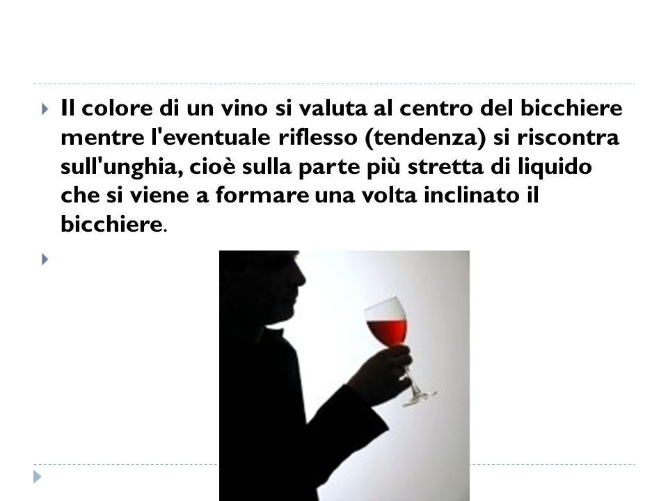 Il colore di un vino si valuta al centro del bicchiere mentre l'eventuale riflesso (tendenza) si riscontra sull'unghia, cioè sulla parte più stretta