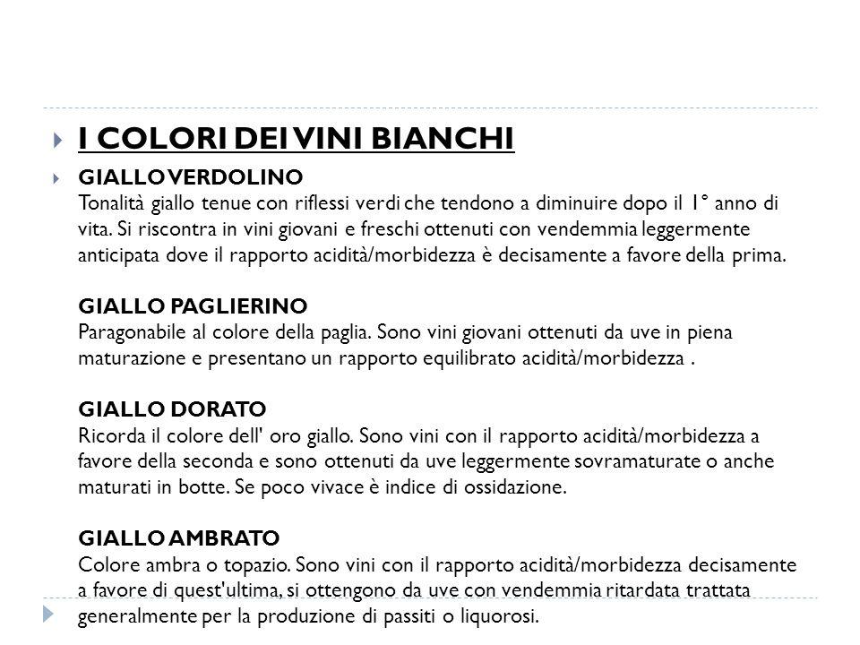  I COLORI DEI VINI BIANCHI  GIALLO VERDOLINO Tonalità giallo tenue con riflessi verdi che tendono a diminuire dopo il 1° anno di vita.