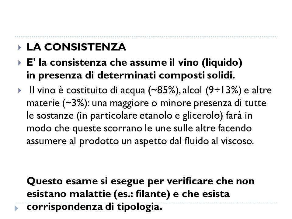  LA CONSISTENZA  E' la consistenza che assume il vino (liquido) in presenza di determinati composti solidi.  Il vino è costituito di acqua (~85%),