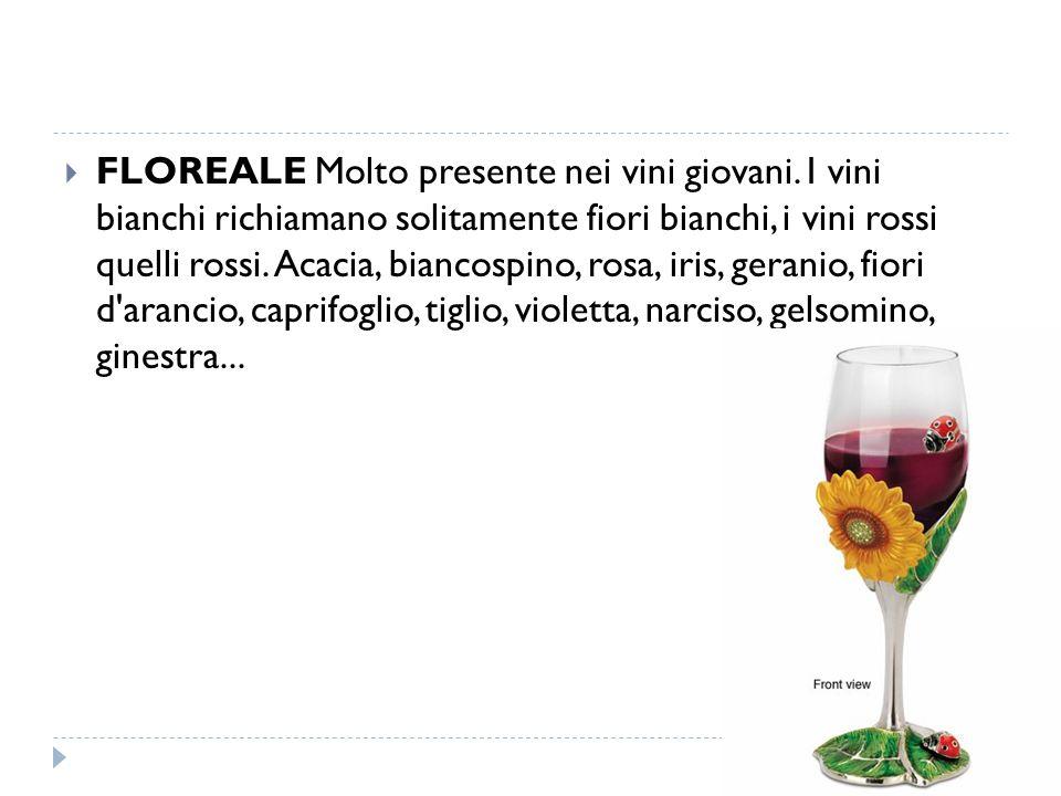  FLOREALE Molto presente nei vini giovani. I vini bianchi richiamano solitamente fiori bianchi, i vini rossi quelli rossi. Acacia, biancospino, rosa,