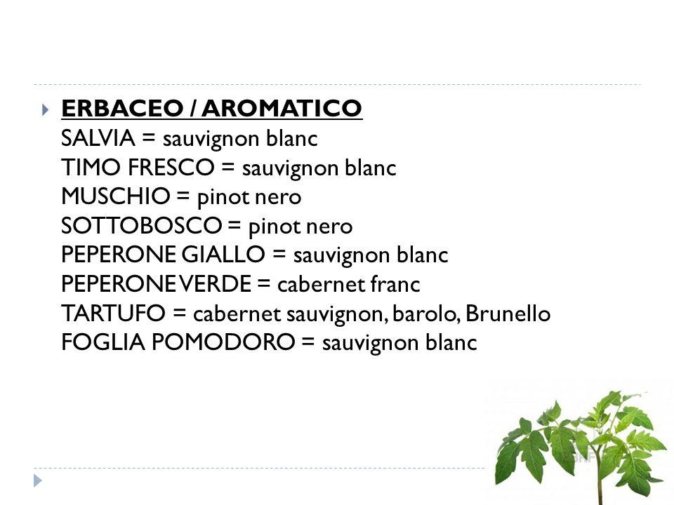  ERBACEO / AROMATICO SALVIA = sauvignon blanc TIMO FRESCO = sauvignon blanc MUSCHIO = pinot nero SOTTOBOSCO = pinot nero PEPERONE GIALLO = sauvignon blanc PEPERONE VERDE = cabernet franc TARTUFO = cabernet sauvignon, barolo, Brunello FOGLIA POMODORO = sauvignon blanc