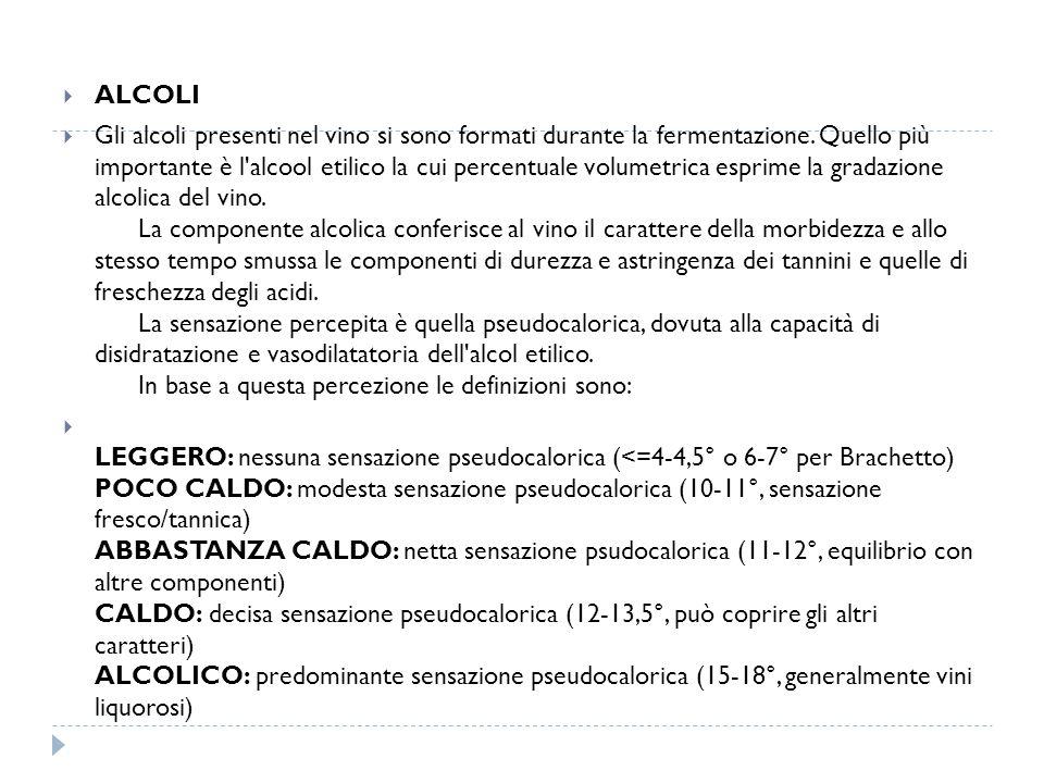  ALCOLI  Gli alcoli presenti nel vino si sono formati durante la fermentazione.