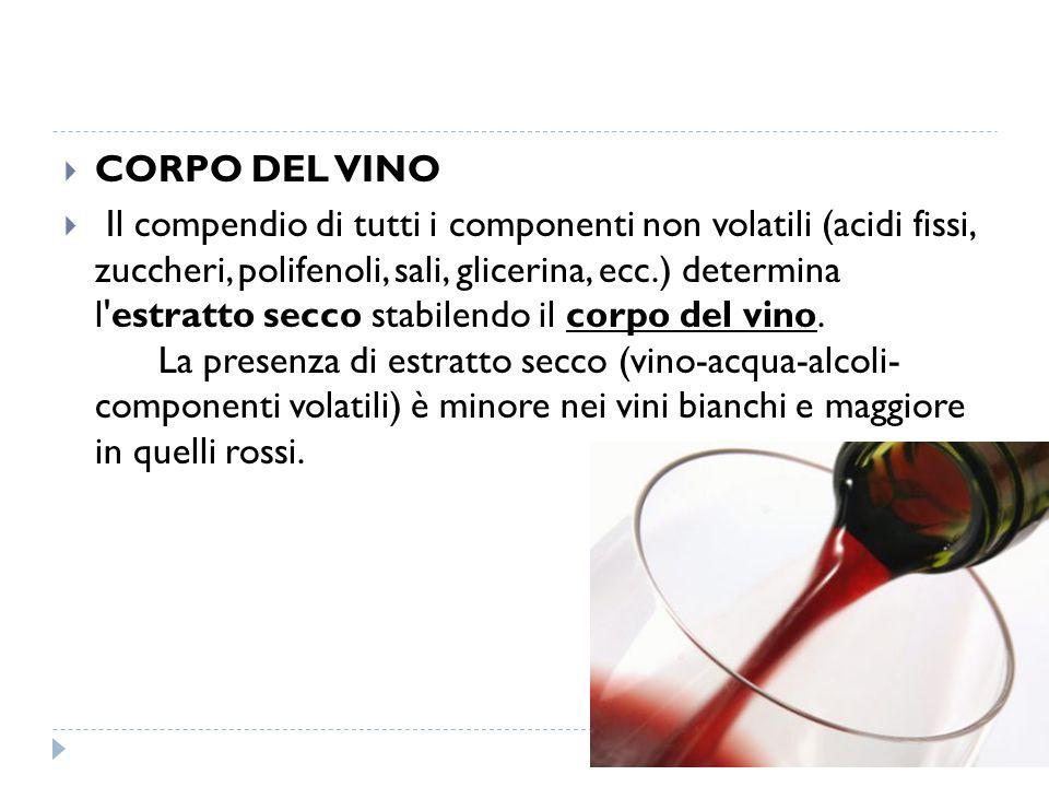  CORPO DEL VINO  Il compendio di tutti i componenti non volatili (acidi fissi, zuccheri, polifenoli, sali, glicerina, ecc.) determina l estratto secco stabilendo il corpo del vino.