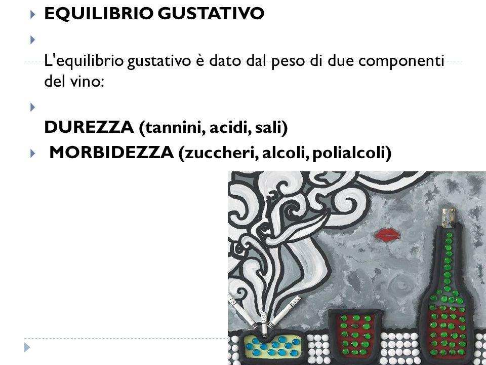  EQUILIBRIO GUSTATIVO  L'equilibrio gustativo è dato dal peso di due componenti del vino:  DUREZZA (tannini, acidi, sali)  MORBIDEZZA (zuccheri, a