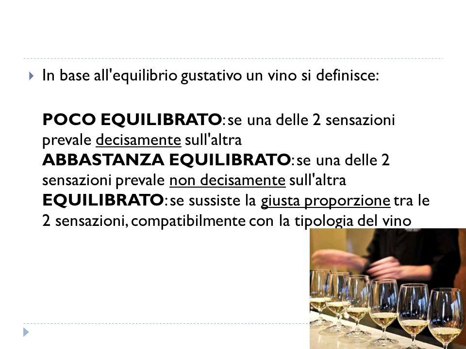  In base all equilibrio gustativo un vino si definisce: POCO EQUILIBRATO: se una delle 2 sensazioni prevale decisamente sull altra ABBASTANZA EQUILIBRATO: se una delle 2 sensazioni prevale non decisamente sull altra EQUILIBRATO: se sussiste la giusta proporzione tra le 2 sensazioni, compatibilmente con la tipologia del vino