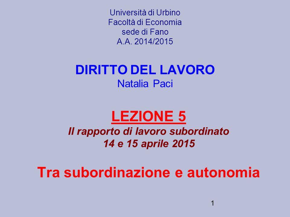 1 Università di Urbino Facoltà di Economia sede di Fano A.A. 2014/2015 DIRITTO DEL LAVORO Natalia Paci LEZIONE 5 Il rapporto di lavoro subordinato 14