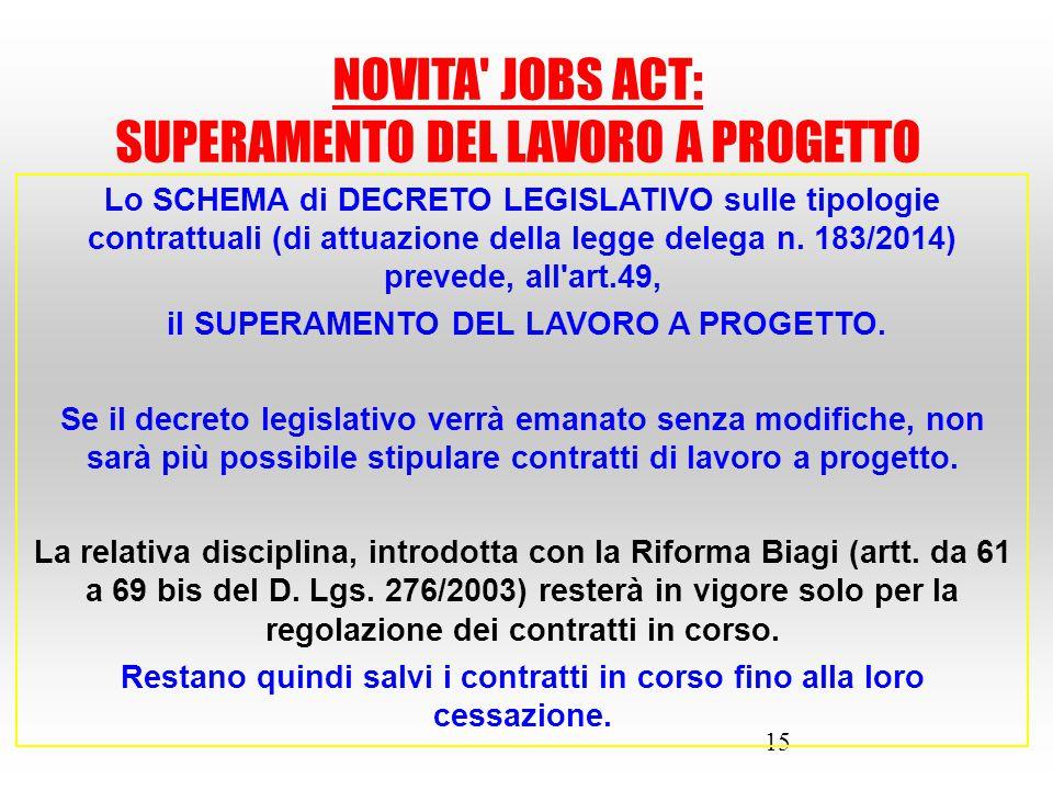15 Lo SCHEMA di DECRETO LEGISLATIVO sulle tipologie contrattuali (di attuazione della legge delega n. 183/2014) prevede, all'art.49, il SUPERAMENTO DE