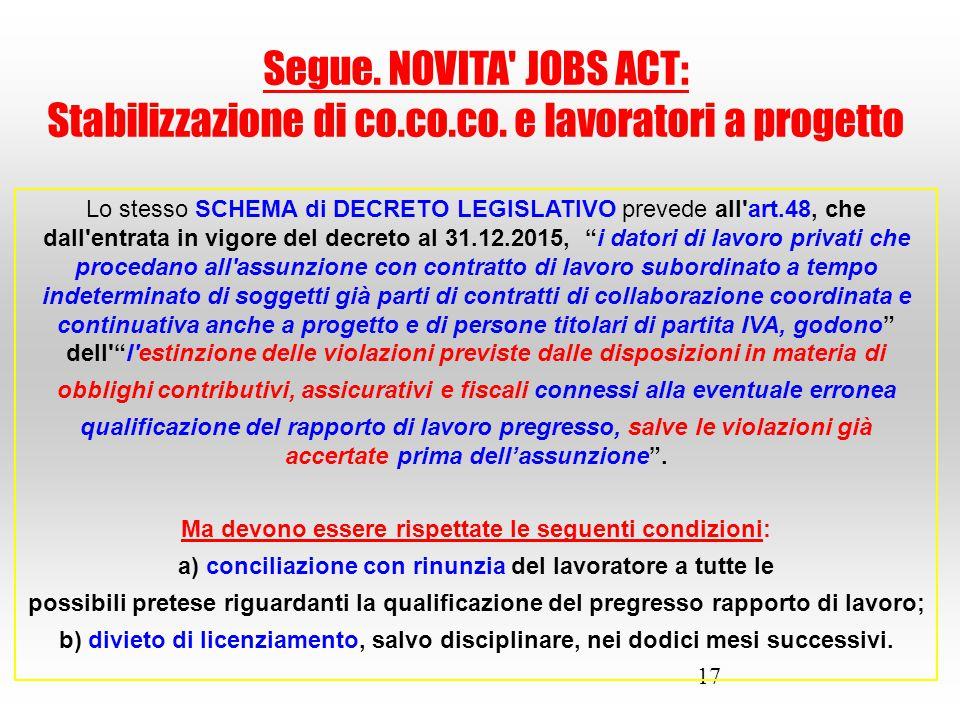 """17 Lo stesso SCHEMA di DECRETO LEGISLATIVO prevede all'art.48, che dall'entrata in vigore del decreto al 31.12.2015, """"i datori di lavoro privati che p"""