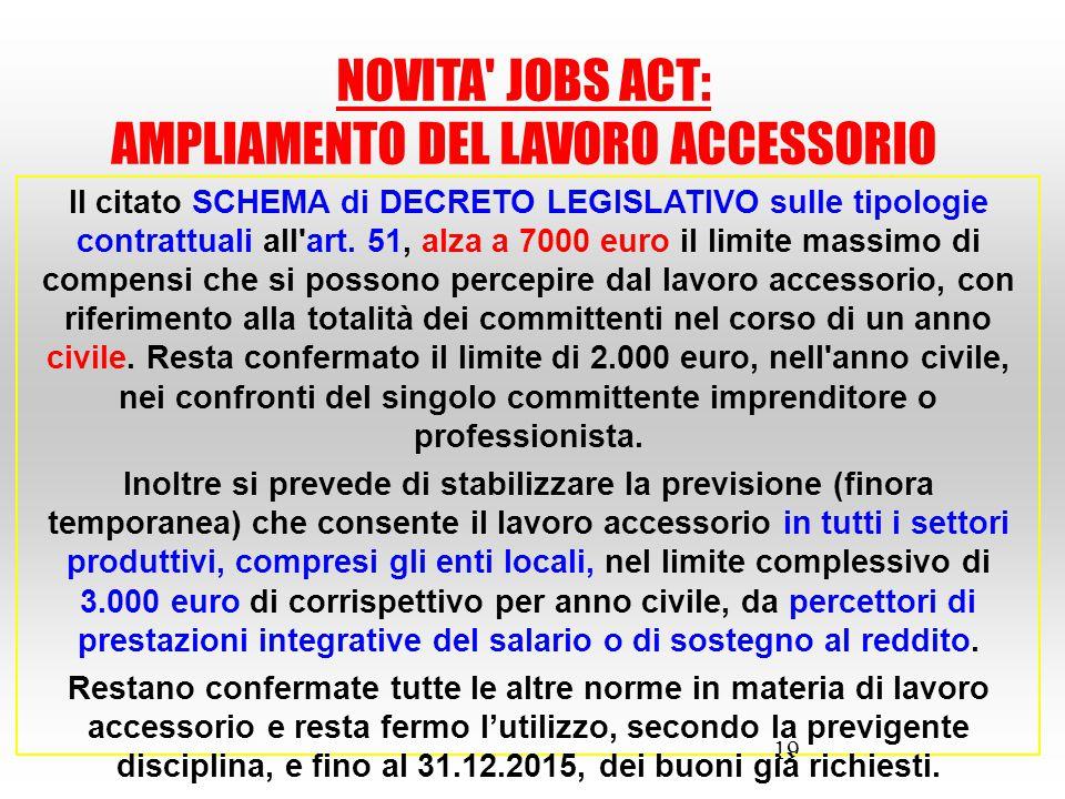 19 Il citato SCHEMA di DECRETO LEGISLATIVO sulle tipologie contrattuali all'art. 51, alza a 7000 euro il limite massimo di compensi che si possono per