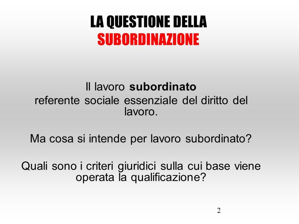 2 Il lavoro subordinato referente sociale essenziale del diritto del lavoro. Ma cosa si intende per lavoro subordinato? Quali sono i criteri giuridici
