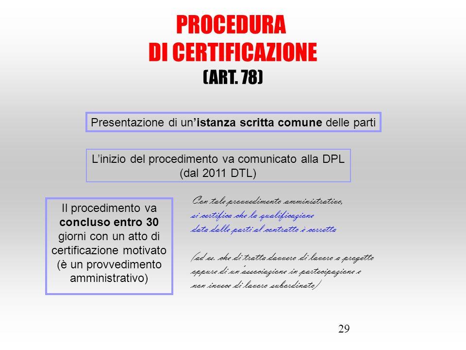 29 PROCEDURA DI CERTIFICAZIONE (ART. 78) Presentazione di un'istanza scritta comune delle parti L'inizio del procedimento va comunicato alla DPL (dal