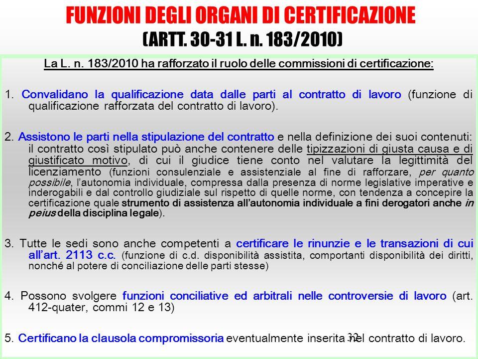 32 FUNZIONI DEGLI ORGANI DI CERTIFICAZIONE (ARTT. 30-31 L. n. 183/2010) La L. n. 183/2010 ha rafforzato il ruolo delle commissioni di certificazione: