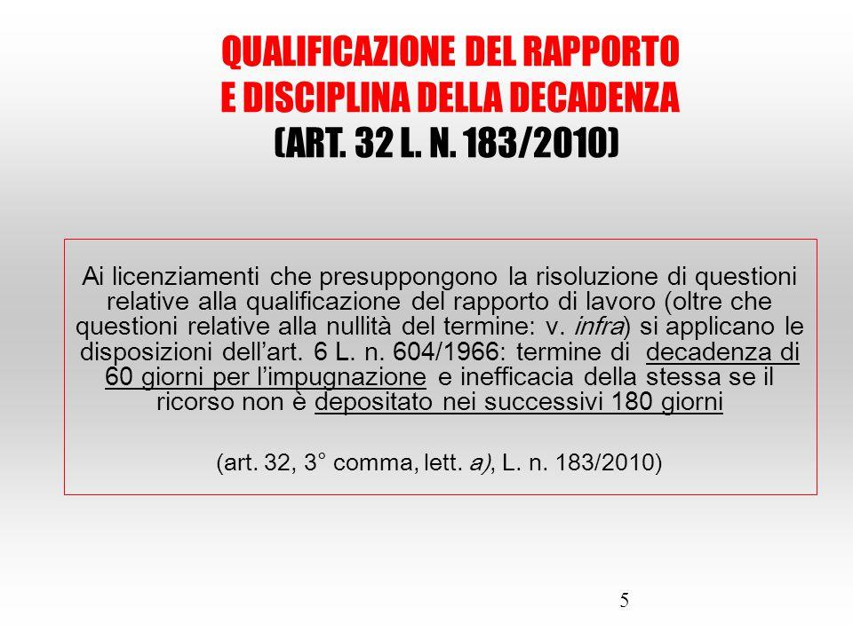 5 Ai licenziamenti che presuppongono la risoluzione di questioni relative alla qualificazione del rapporto di lavoro (oltre che questioni relative all