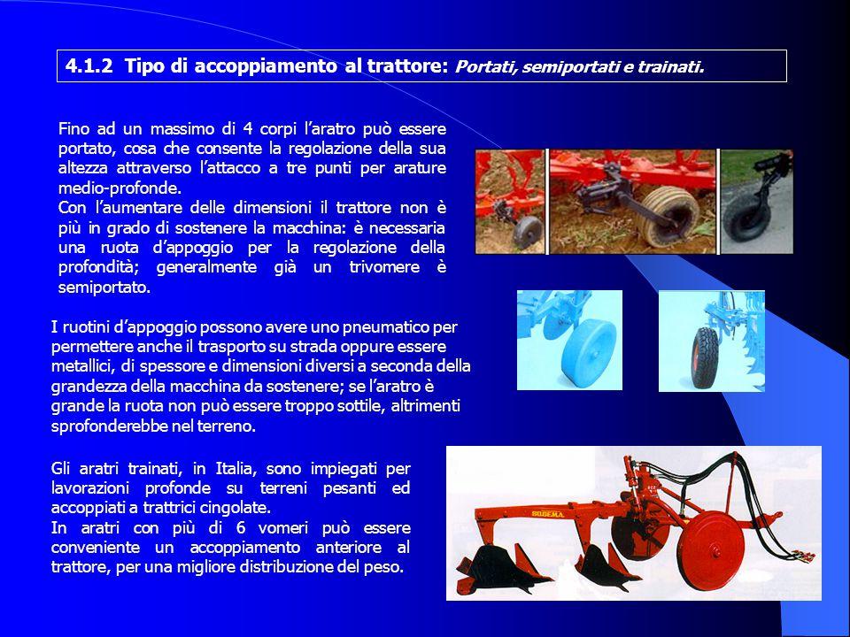 Gli aratri trainati, in Italia, sono impiegati per lavorazioni profonde su terreni pesanti ed accoppiati a trattrici cingolate.