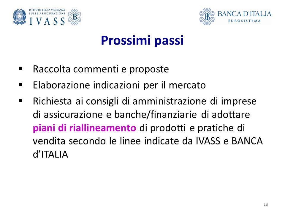 Prossimi passi  Raccolta commenti e proposte  Elaborazione indicazioni per il mercato  Richiesta ai consigli di amministrazione di imprese di assicurazione e banche/finanziarie di adottare piani di riallineamento di prodotti e pratiche di vendita secondo le linee indicate da IVASS e BANCA d'ITALIA 18