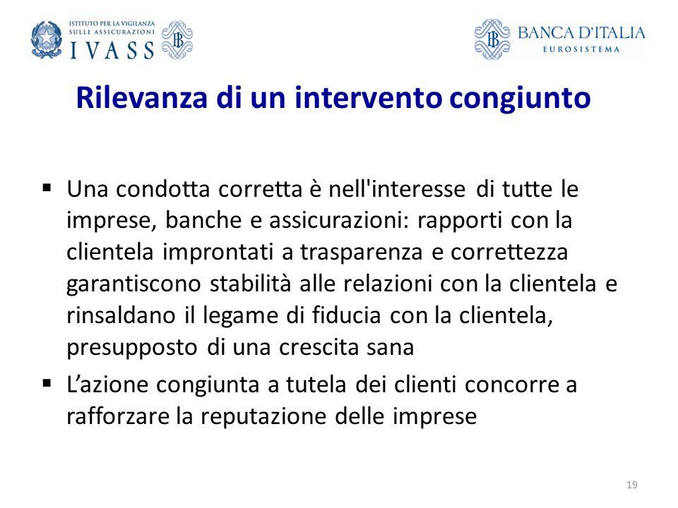 Rilevanza di un intervento congiunto  Una condotta corretta è nell'interesse di tutte le imprese, banche e assicurazioni: rapporti con la clientela i