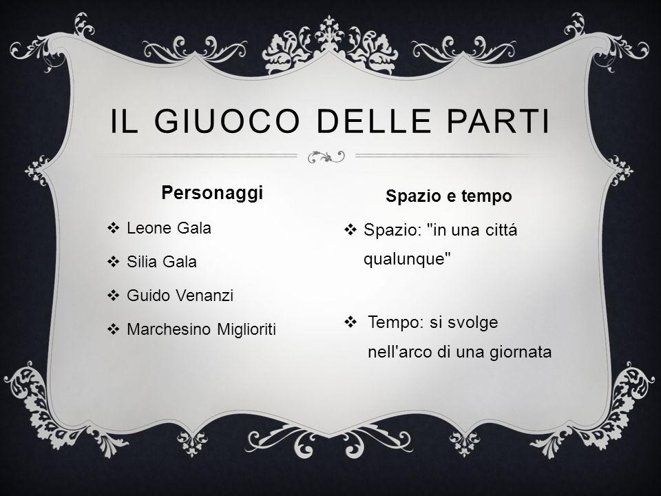 Personaggi  Leone Gala  Silia Gala  Guido Venanzi  Marchesino Miglioriti IL GIUOCO DELLE PARTI Spazio e tempo  Spazio:
