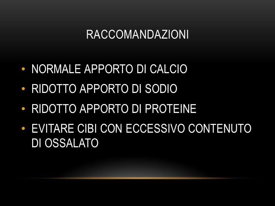 LIVELLI ASSUNZIONE DI RIFERIMENTO DEI NUTRIENTI (LARN) SINU (SOCIETÀ ITALIANA DI NUTRIZIONE UMANA) PROTEINE0.90 g/KgM 63 g/dieF 54 g/die CALCIO1000 mg (1200 mg oltre i 60 anni) SODIO1500 mg (1200 mg oltre i 60 anni) POTASSIO3900 mg MAGNESIO240 mg OSSALATOCIBI < 50 mg/porzione