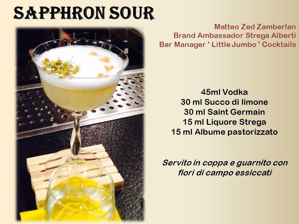 45ml Vodka 30 ml Succo di limone 30 ml Saint Germain 15 ml Liquore Strega 15 ml Albume pastorizzato Servito in coppa e guarnito con fiori di campo ess