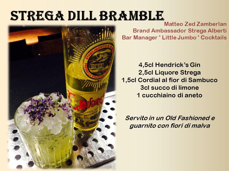 4,5cl Hendrick's Gin 2,5cl Liquore Strega 1,5cl Cordial al fior di Sambuco 3cl succo di limone 1 cucchiaino di aneto Servito in un Old Fashioned e gua