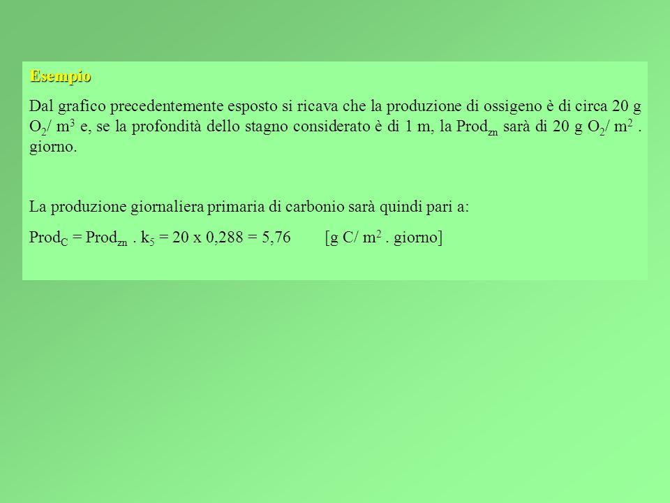 Esempio Dal grafico precedentemente esposto si ricava che la produzione di ossigeno è di circa 20 g O 2 / m 3 e, se la profondità dello stagno considerato è di 1 m, la Prod zn sarà di 20 g O 2 / m 2.