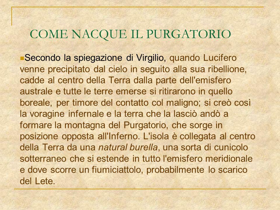 COME NACQUE IL PURGATORIO Secondo la spiegazione di Virgilio, quando Lucifero venne precipitato dal cielo in seguito alla sua ribellione, cadde al cen