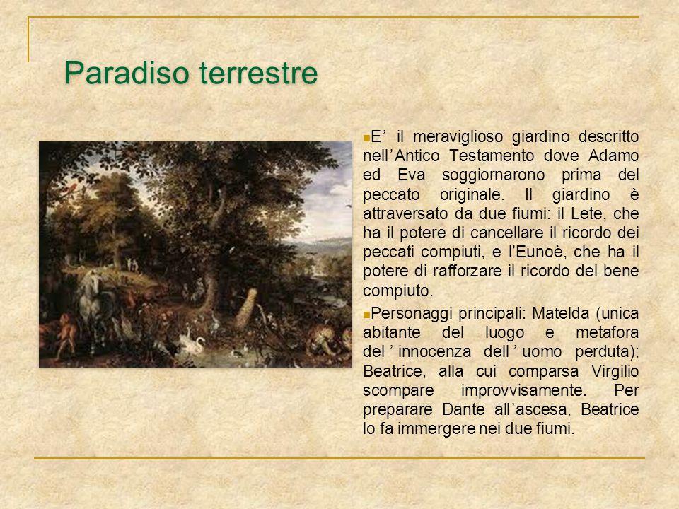 Paradiso terrestre E' il meraviglioso giardino descritto nell'Antico Testamento dove Adamo ed Eva soggiornarono prima del peccato originale. Il giardi